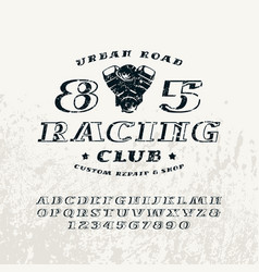 bulk italic serif font and racing club emblem vector image