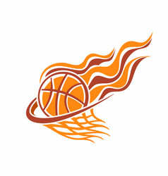 burning basketball ball in basket vector image vector image