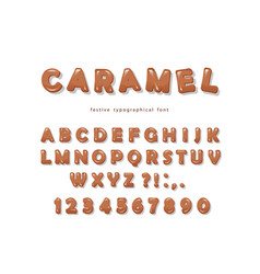 caramel font design sweet glossy abc letters and vector image