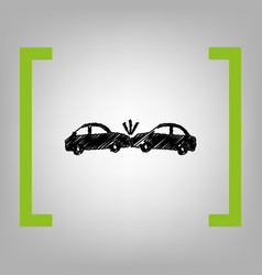 crashed cars sign black scribble icon in vector image