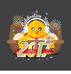 Cute chick celebrating 2017 with colorful firework vector