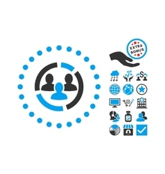 Demography diagram flat icon with bonus vector