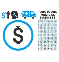 Dollar Icon with 1000 Medical Business Pictograms vector image