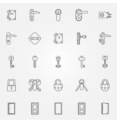 Door lock icons vector
