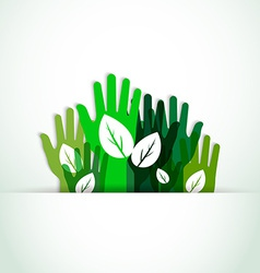 ecological hands up vector image