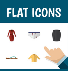 Flat icon garment set of beach sandal banyan vector