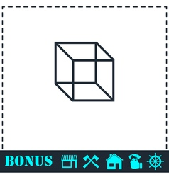 Geometric cube icon flat vector