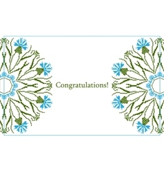 Greeting card with ethnic cornflower ornament vector