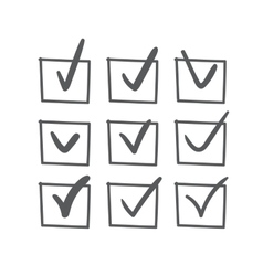 Hand drawn check mark set vector