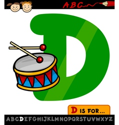 letter d with drum cartoon vector image vector image