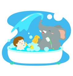 Little boy take a bath with elephant in tub vector