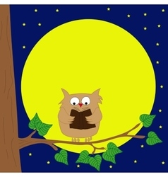 Owl sitting on a branch reading book by moonlight vector