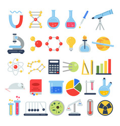 scientific icon set science lab with different vector image vector image
