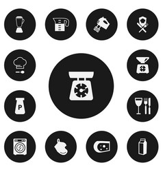 Set of 13 editable cook icons includes symbols vector