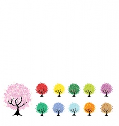set of floral trees vector image