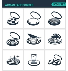 Set of modern icons woman face powder vector