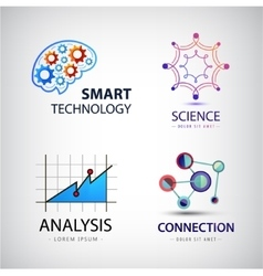 set of science analysis chemistry atom vector image vector image