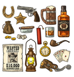 set with wild west and casino symbols vector image