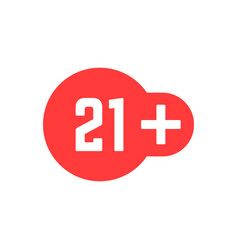 Simple 21 plus red icon isolated on white vector