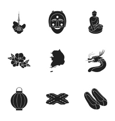South korea set icons in black style big vector