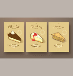 Sweet collection of cheese cakes and apple pie vector