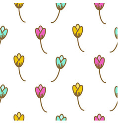 Tulip flowers pink floral art pattern seamless vector