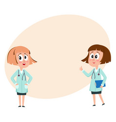 Two comic woman doctor characters thumb up hands vector