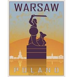 Warsaw vintage poster vector image vector image