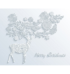White merry christmas reindeer with winter floral vector