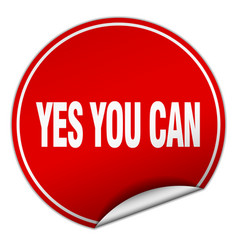 Yes you can round red sticker isolated on white vector