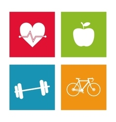 Weight apple bike and heart icon graphic vector