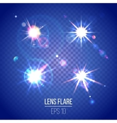 Highly detailed lens flares set vector image