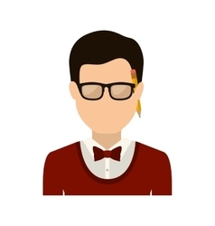Half body man with formal suit and pencil vector