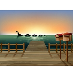 Sunset at the port with two wooden mailboxes vector image