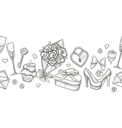 Monochrome valentine horizontal border vector image