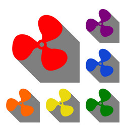 fan sign set of red orange yellow green blue vector image