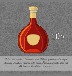 Brandy alcoholic beverage card template vector