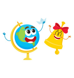 Funny smiling globe and bell characters back to vector