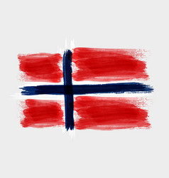 Grunge watercolored flag of norway on gray vector