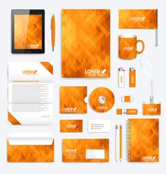 Orange set of corporate identity template vector