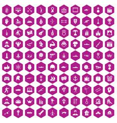 100 hero icons hexagon violet vector