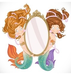 Two mermaid holding a big mirror vector