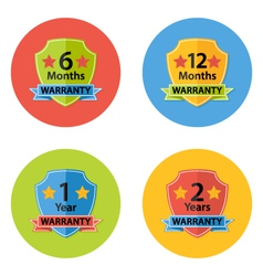 Warranty flat circle icons set 3 vector