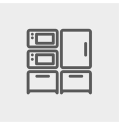Home Kitchen oven and microwave thin line icon vector image