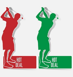 Golf hot deal label sticker vector vector