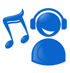 Blue musical icon vector
