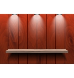 Empty shelf on red wooden wall vector image