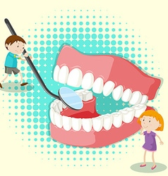 Boy and girl looking at clean teeth vector