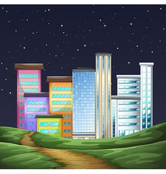 Park and buildings in the city at night vector