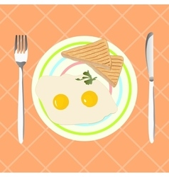 Fried eggs with toasts for breakfast vector